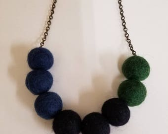 Cool Colors Felt Ball Necklace