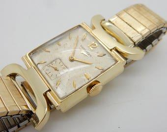 Vintage Mens LONGINES 14K Yellow Gold Hand-Winding Swiss 17j 22L Wrist Watch; sku # 3183