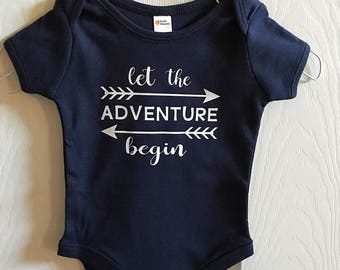 Navy boy onesie with let the adventure begin. Boy outfit. Baby shower gift