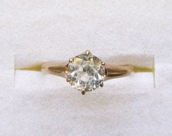 ON SALE Victorian claw set clear paste solitaire ring 10k yellow gold size 5.5