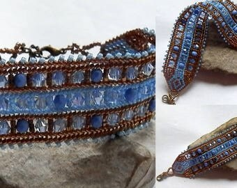 Blue and bronze seed beads woven bracelet
