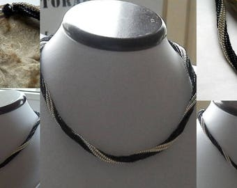 Black and silver woven necklace