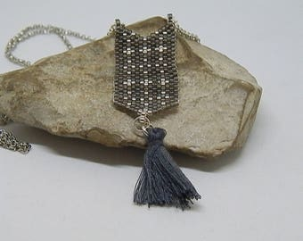 Woven grey and Silver Needle necklace