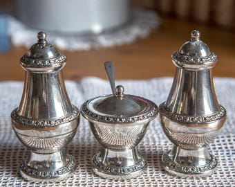 Pretty vintage 'Ianthe' silver-plated condiment set, 1960s