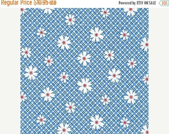 Summer Sale- Penny's Pets~Daisies on Blue~ Cotton Fabric, by Kaufman ,Fast Shipping, TT111
