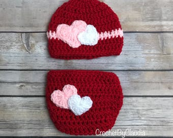 Crochet Red Beanie and Diaper Cover With Hearts/ Valentines Day Photograph Prop / Heart Beanie