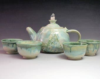 Elven Tea Set- Handmade Stoneware with Crystal