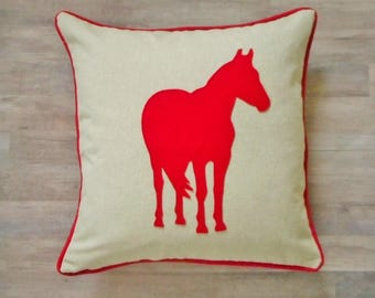 Horse Pillow cover, Equestrian pillow, horse lover gift, horse applique, horseback riding