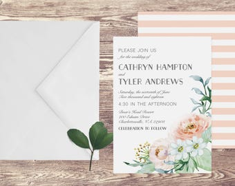 The Charlottesville Wedding Invitation and RSVP Set, Floral Watercolor Wedding Invitation, Floral Wedding Invite, Customized Wedding Invite