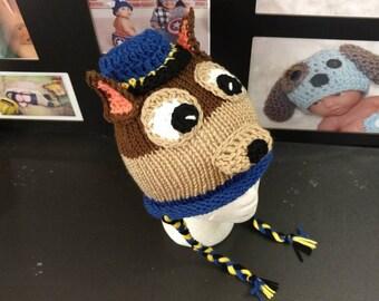 Paw patrol hat, Rubble Hat, Skye hat, Skye paw patrol, crochet hat, baby, toddler, child crochet hat, Sky hat,