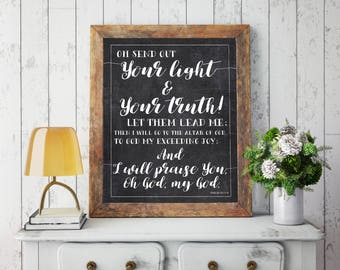 """Psalm 43 Quote """"Send out Your Light"""" Digital Art - Includes 8x10, 11x4, & 16x20 sizes included as INSTANT DOWNLOADS - Printable Files"""