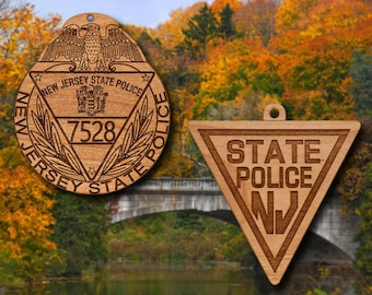 Wooden New Jersey SP Badge or Shoulder Patch Ornament