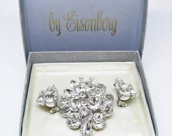 1940s Eisenberg Rhinestone Diamante Rhodium Demi Parure Earrings Brooch Set Original Box