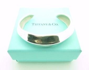 Tiffany & Co. Sterling Silver Leaf Cuff Bracelet Size Small
