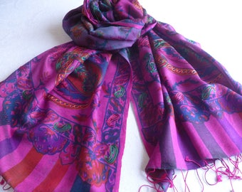 Scarf, embroidered, FREE SHIPPING, fuchsia purple, natural fiber,  paisley, Kani design, wool silk blend, table runner