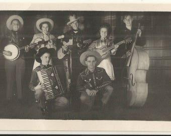 1930s BW Real Photo RPPC Postcard- Stagebrush Jim & His Prairie Vagabonds, Stagebrush Jim Marshall, Country Music, Bluegrass-  Free Shipping