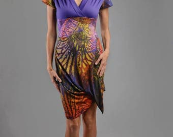 Colorful multicolor purple mesh INDIA M short sleeve dress