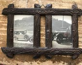 Black Forest Wood Carved Frame with Car Auto Photos