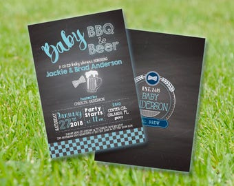 Baby Bbq and Beer BABY SHOWER Invitation 5x7 [Digital File] - Co-ed Baby Shower - Blue Gingham, Beer, Chalkboard, Boy
