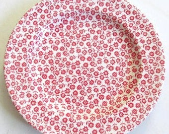 "Mainstays Red Flowers ""Rome"" Design Collectible Ceramic Dinner Plate  10 5/8"""