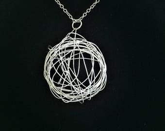 Wire Globe Necklace \\ Silver Jewelry \\ Silver Chain