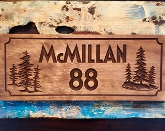 Personalized Cabin Signs Rustic Family Last Name Welcome Pine Tree Silhouette carved Wooden Sign Cottage Cabin Decor Wood carved Sign #69