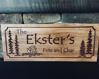 Personalized Cabin Signs Rustic Family Last Name Welcome Campfire Pine Trees carved Wooden Sign Cottage Cabin Decor Wooden Wall art  #52