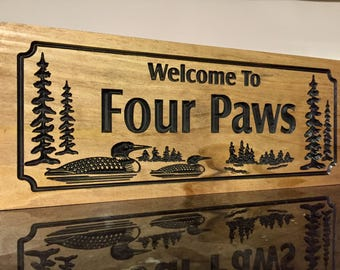 Outdoor Wooden Signs, Personalized Signs, Home away from home,  Ranch Cabin Lakehouse Cottage Signs carved Loons pine trees Benchmark Signs
