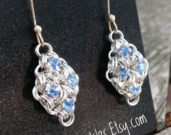 Light Sapphire Chainmail Earrings / light blue statement earrings / princess earrings / blue chain mail earrings / bridesmaid gifts