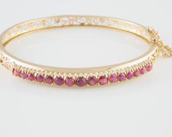 2.5 Carat Ruby Bracelet 18K Yellow Gold
