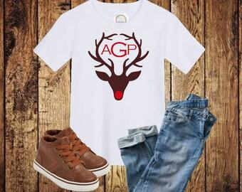 Boys Christmas Monogram, Boys Christmas Shirt, Boys Reindeer Shirt, Monogram Christmas Shirt