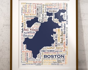 Boston Typography Map Art Print, Boston Poster Print, Boston neighborhood map print, Boston Massachusetts Art, Choose your color and size