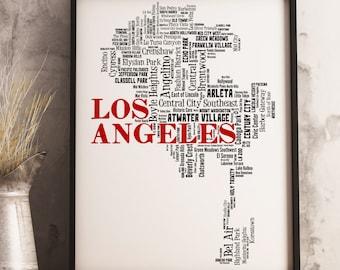 Los Angeles Map Art, Los Angeles Art Print, Los Angeles Neighborhood Map, Los Angeles Typography Art, Los Angeles Decor, Los Angeles Gift