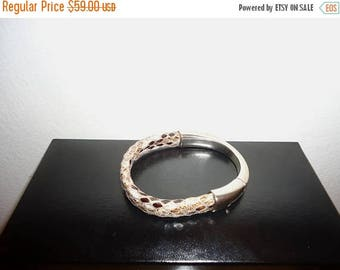 50% OFF Vintage Snakeskin Leather Silver Bangle Bracelet