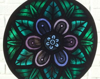 African Violet Stained Glass Mandala