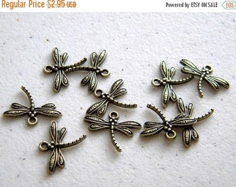 HALF PRICE 10 Bronze Dragonfly Charms