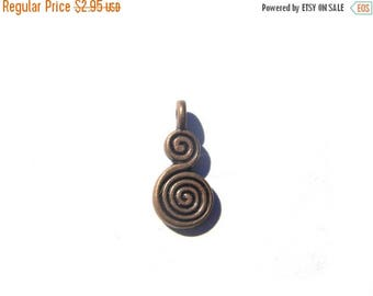 HALF PRICE 6 Copper Double Spiral Charms
