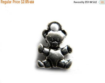 HALF PRICE 10 Silver Tiny Teddy Bear Charm  - 10 Charms