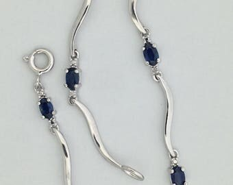 Natural Sapphire with Diamond Accent Bracelet 925 Sterling Silver