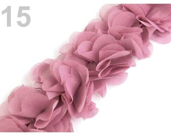 Organza Ribbon gathered 6 pink 15 cm