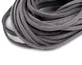 10 strings of suede like leather suede grey 1 m x 3 mm