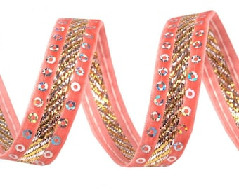 15 mm coral 420778 sequins and velvet Ribbon