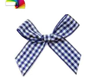 4 gingham bows 4 cm