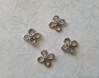 4pcs 12mm connector or charm flower silver hollow double sided