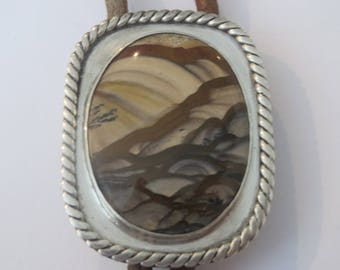 Vintage  Sterling Silver Picture Agate  Beige  Desert Scene Signed FAH Bolo Tie IC  Lot  L