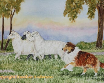 "4 Sable Sheltie Greeting Cards, ""Hasten on Home!""  5 1/2"" x 4 1/4"" ""  Heather Anderson canine artist"