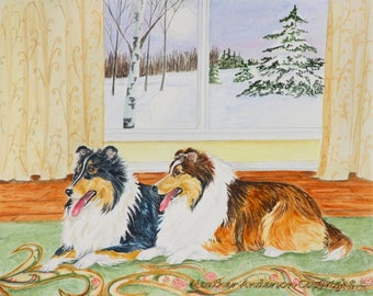 """Sable and Tricolor Shelties in an 8""""x10"""" Giclee Print,  """"After the Walk """"  Heather Anderson, free shipping"""