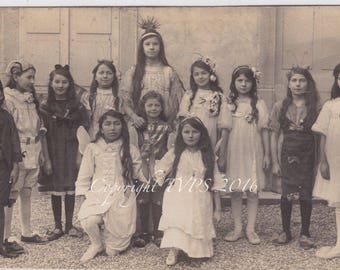 Vintage Photo Kids in costumes The Fairy Court RPPC photo