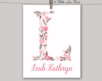 personalized nursery art | floral monogram boho nursery decor | beige pink brown | little girls flower letter | rustic shabby chic nursery