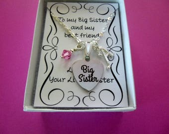 Personalized Big Sister Necklace With Birthstone, Personalized Necklace, Big Sister Necklace, Birthstone Necklace, Initial Jewelry, N1